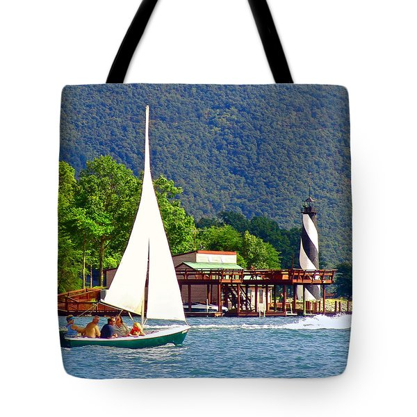 Lighthouse Sailors Smith Mountain Lake Tote Bag by The American Shutterbug Society