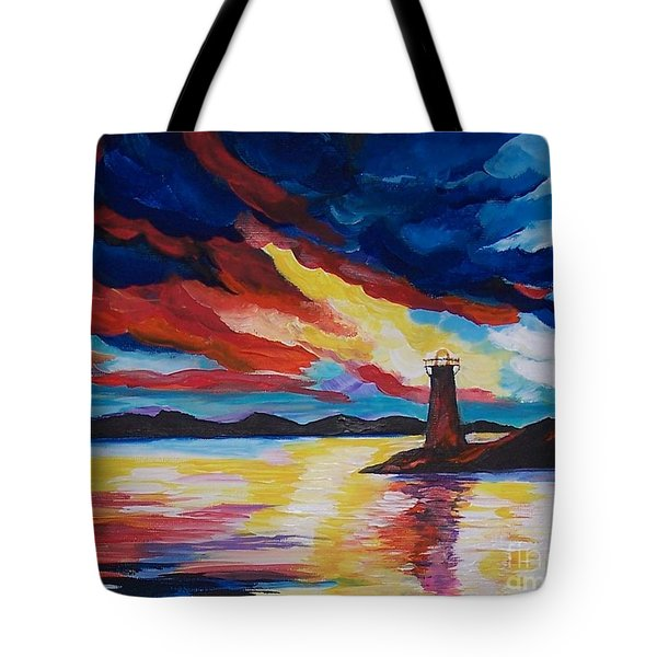 Tote Bag featuring the painting Lighthouse Storm by Leslie Allen