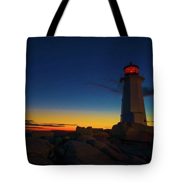 Lighthouse Sunset Tote Bag by Andre Faubert