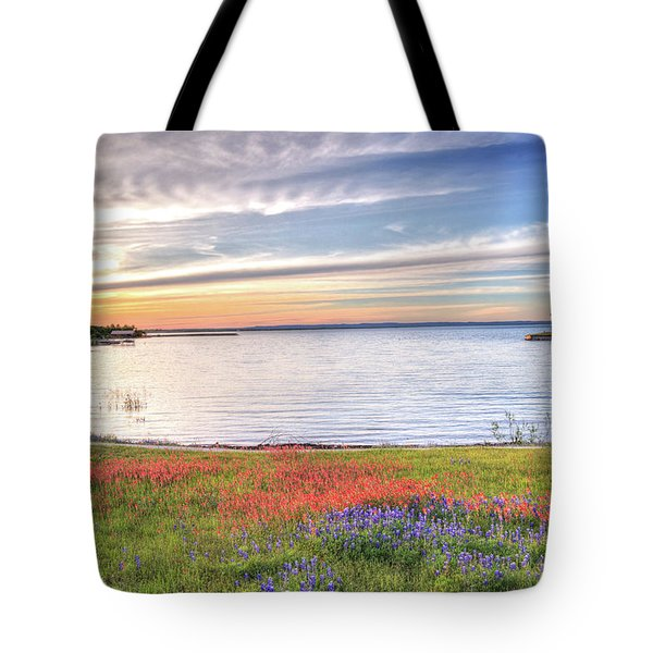 Lighthouse Sunset At Lake Buchanan Tote Bag