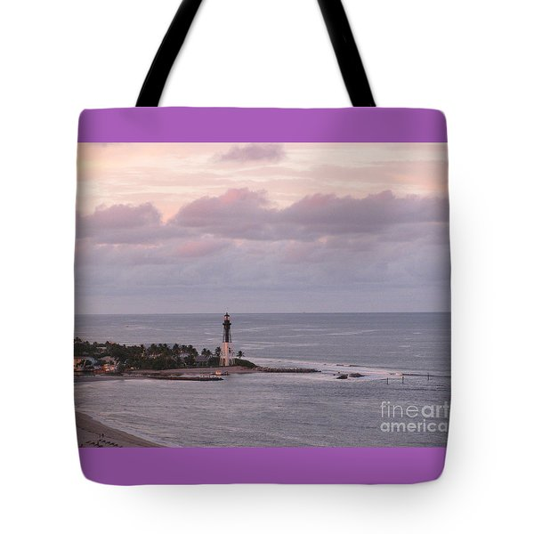 Lighthouse Sunset Peach And Lavender Tote Bag