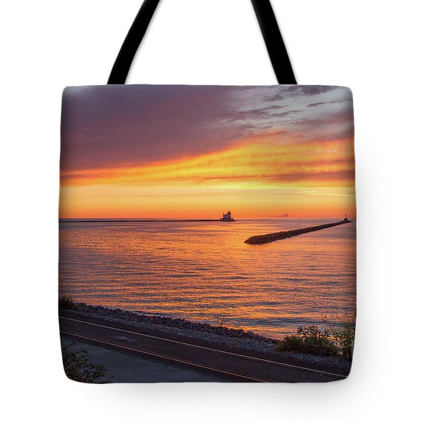 Lighthouse Sunset Tote Bag
