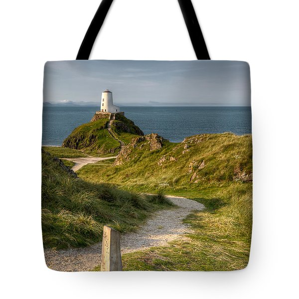 Lighthouse Twr Mawr Tote Bag by Adrian Evans