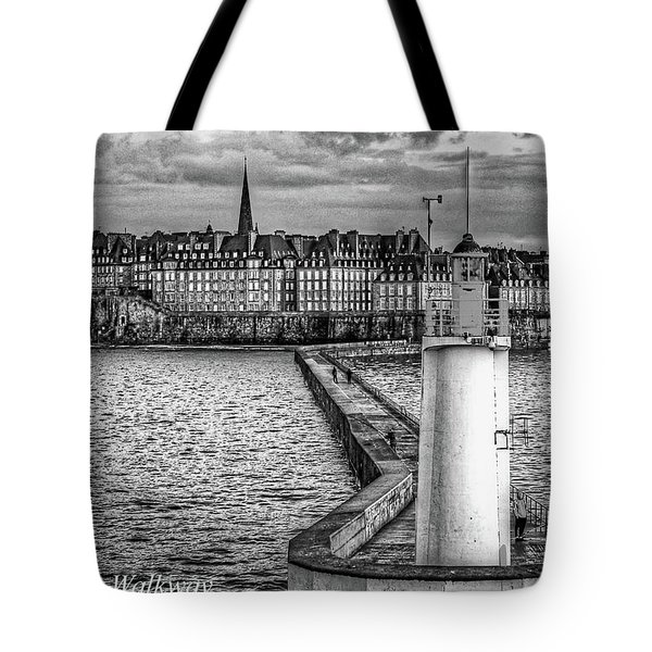 Tote Bag featuring the photograph Lighthouse Walkway by Elf Evans