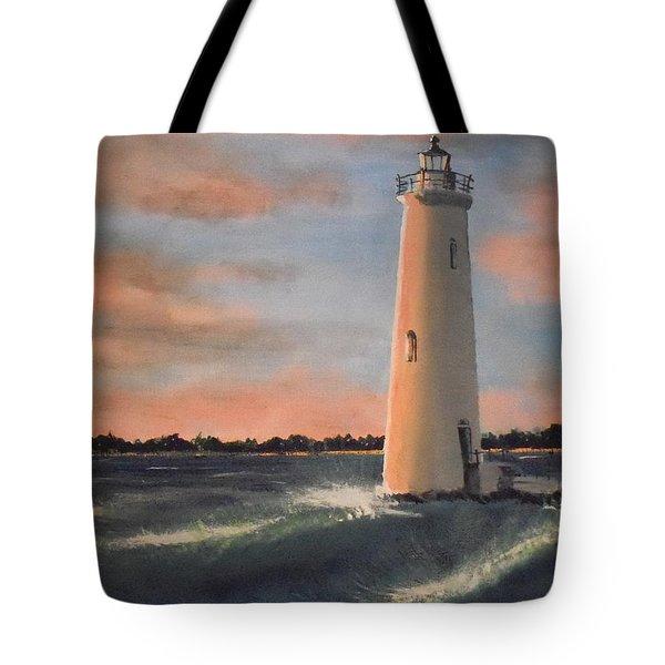 Lighthouse Waves Tote Bag