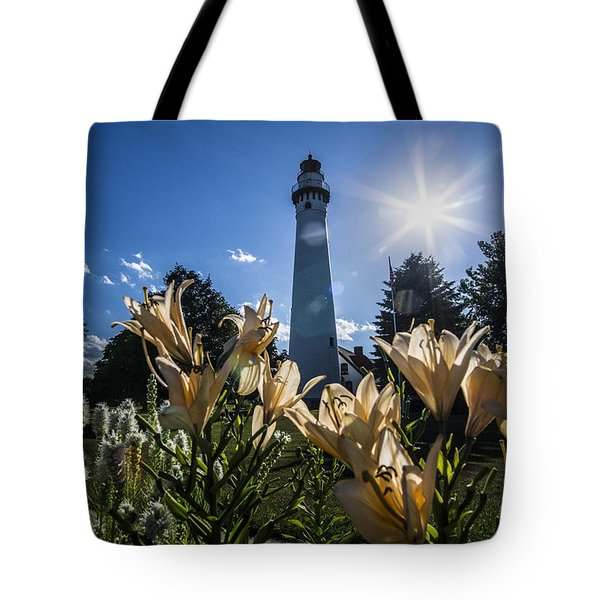 Lighthouse With A Flowery Foreground Tote Bag