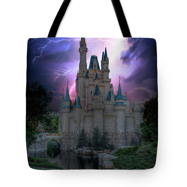 Lighting Over The Castle Tote Bag