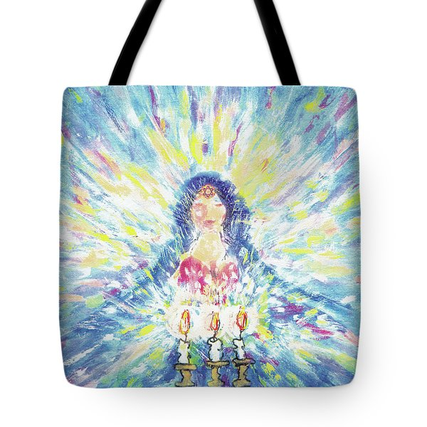 Lighting Shabbot Candles Tote Bag