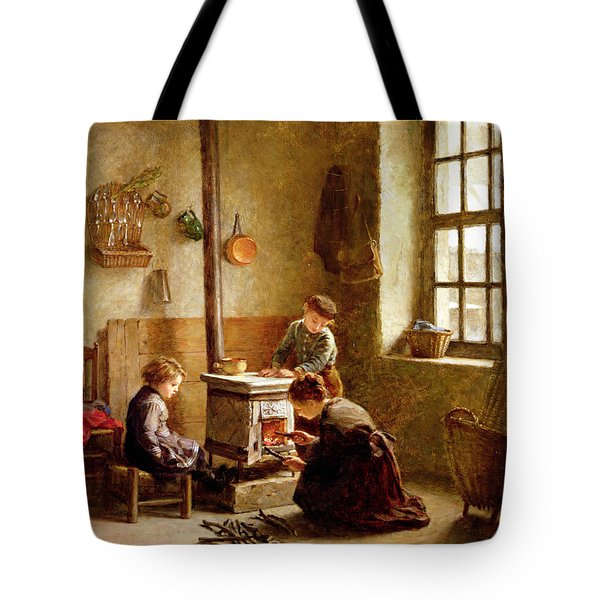 Lighting The Stove Tote Bag by Pierre Edouard Frere