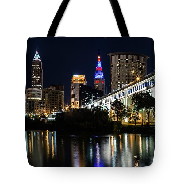 Tote Bag featuring the photograph Lighting Up Cleveland by Dale Kincaid