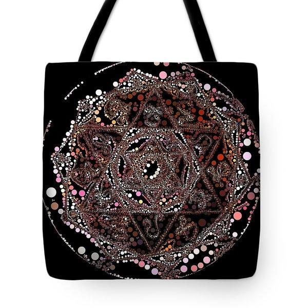 Tote Bag featuring the digital art Lightmandala 6 Star Morph 4 by Robert Thalmeier