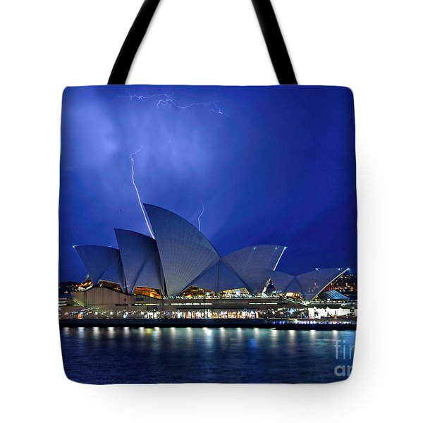 Lightning Above The Opera House Tote Bag by Kaye Menner