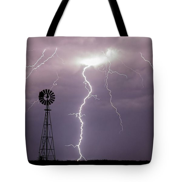 Tote Bag featuring the photograph Lightning And Windmill -02 by Rob Graham
