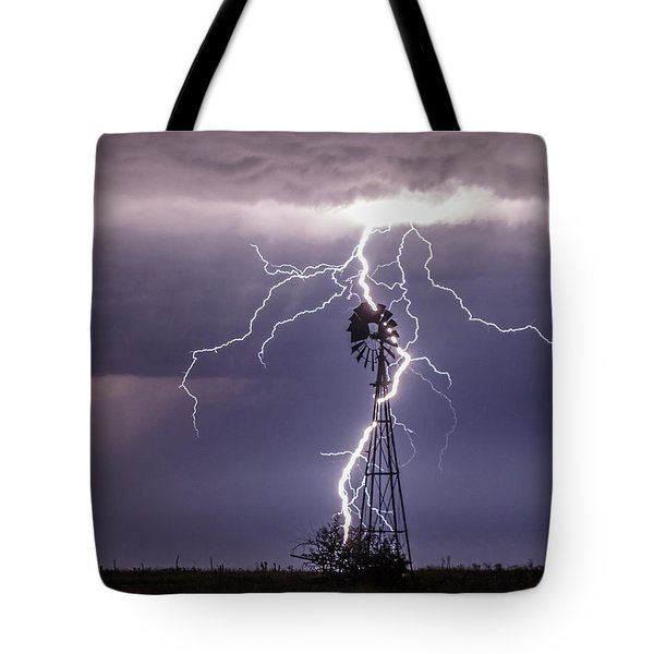 Tote Bag featuring the photograph Lightning And Windmill by Rob Graham