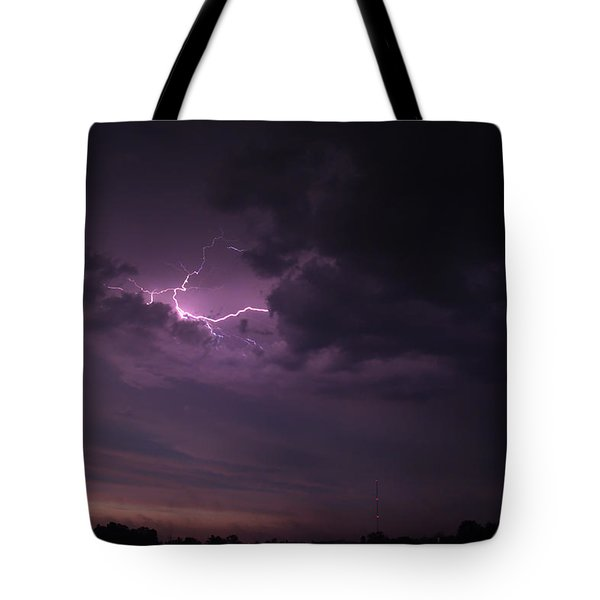 Tote Bag featuring the photograph Lightning At Sunset by Mark Dodd