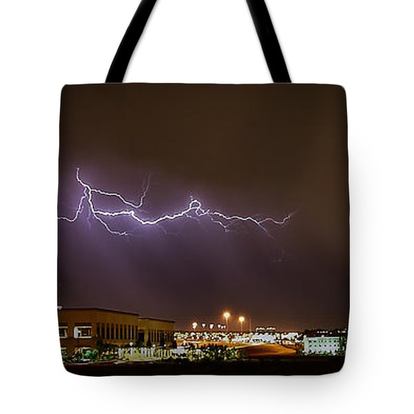 Lightning Bolt Over Suburbs Tote Bag