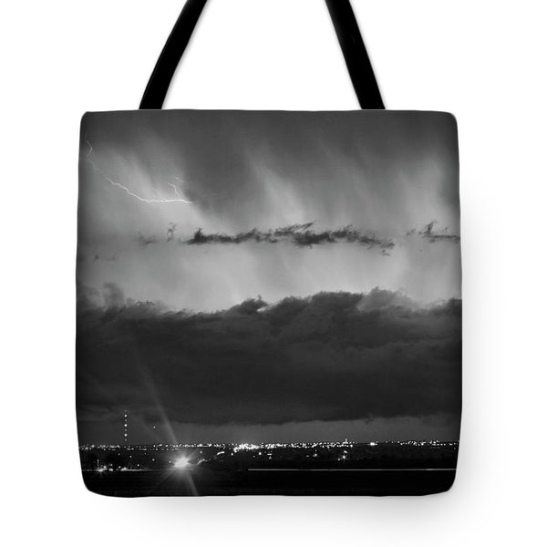 Lightning Cloud Burst Black And White Tote Bag by James BO  Insogna