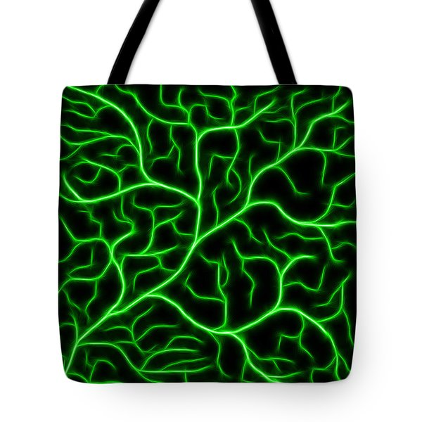 Tote Bag featuring the digital art Lightning - Green by Shane Bechler