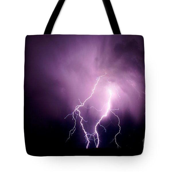 Lightning In The Desert Tote Bag