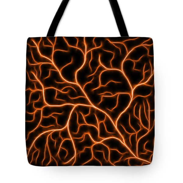 Tote Bag featuring the digital art Lightning - Orange by Shane Bechler