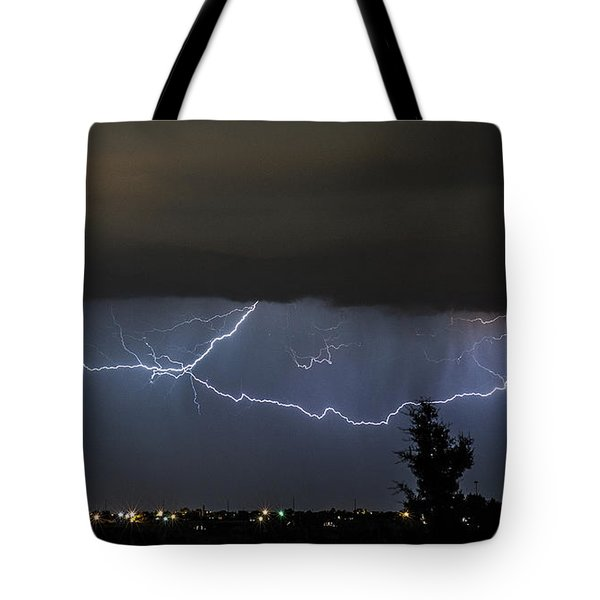 Lightning Over Amarillo Tote Bag by Karen Slagle