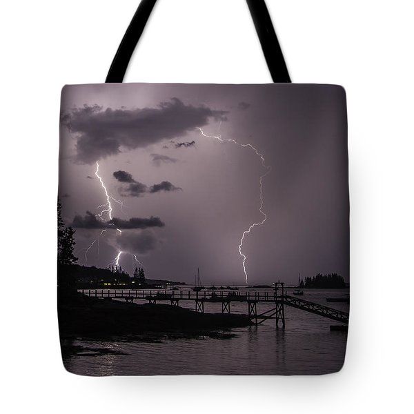 Lightning Over Boothbay Harbor Tote Bag