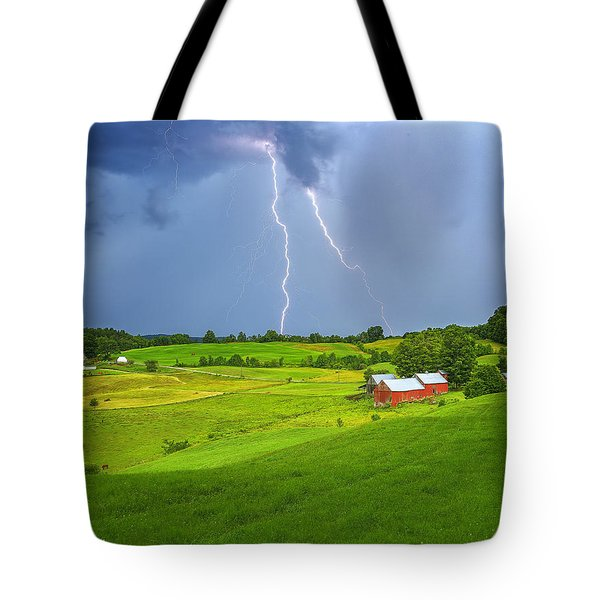 Lightning Storm Over Jenne Farm Tote Bag