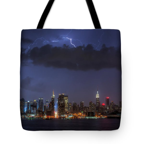 Lightning Over New York City I Tote Bag by Clarence Holmes