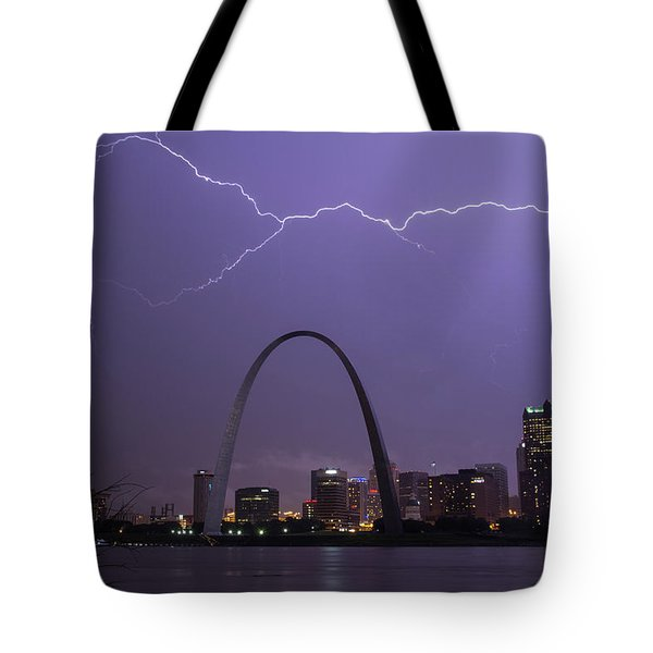 Lightning Over St Louis Tote Bag by Garry McMichael