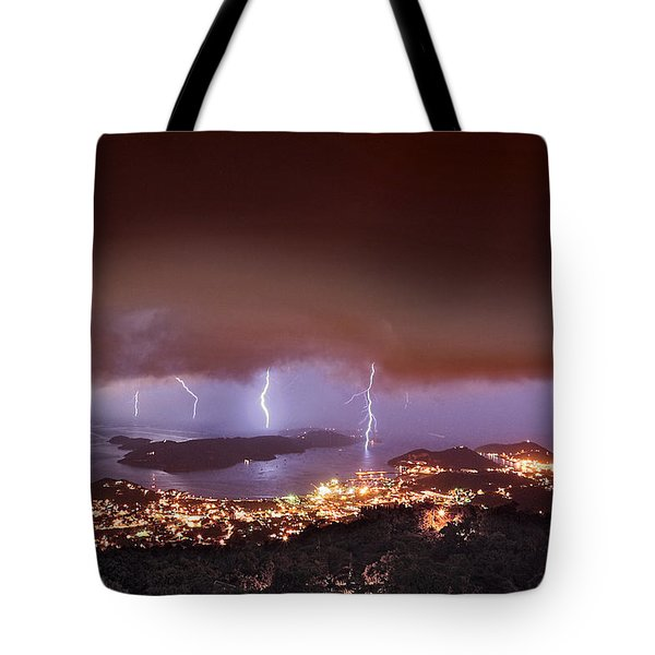 Lightning Over Water Island Tote Bag