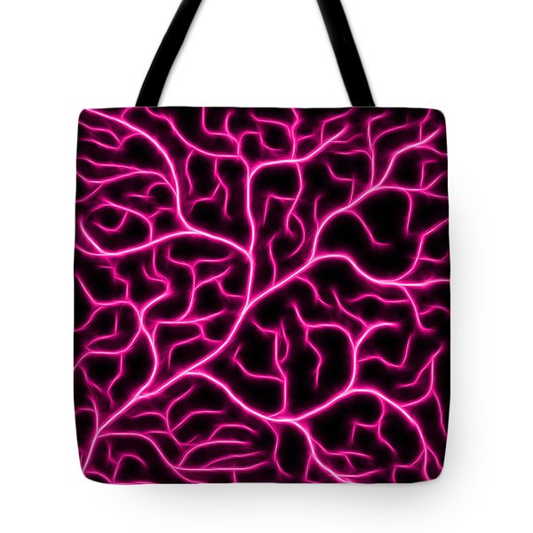 Tote Bag featuring the digital art Lightning - Pink by Shane Bechler