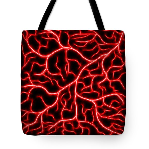 Tote Bag featuring the digital art Lightning - Red by Shane Bechler