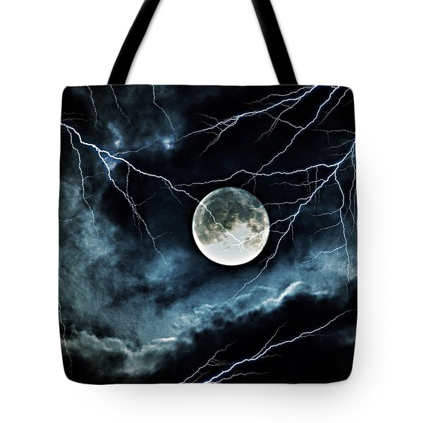 Lightning Sky At Full Moon Tote Bag