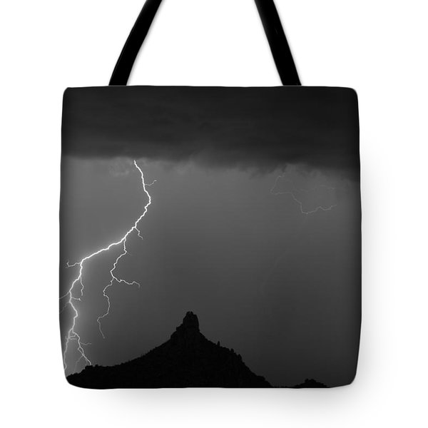 Lightning Storm At Pinnacle Peak Scottsdale Az Bw Tote Bag by James BO  Insogna