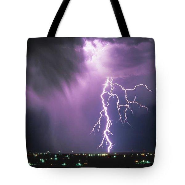Lightning Storm Tote Bag by Leland D Howard