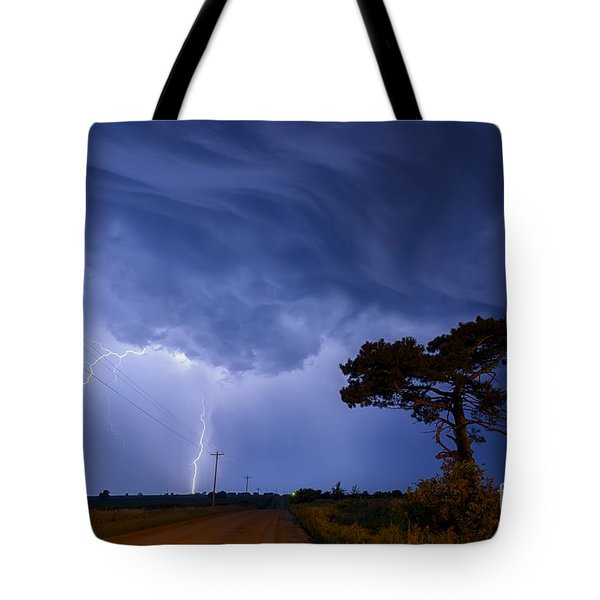 Lightning Storm On A Lonely Country Road Tote Bag