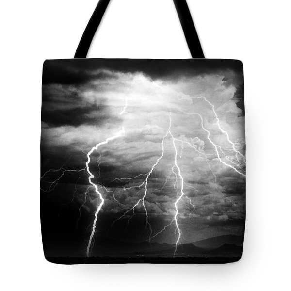 Tote Bag featuring the photograph Lightning Storm Over The Plains by Joseph Frank Baraba