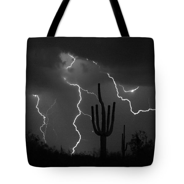 Lightning Storm Saguaro Fine Art Bw Photography Tote Bag