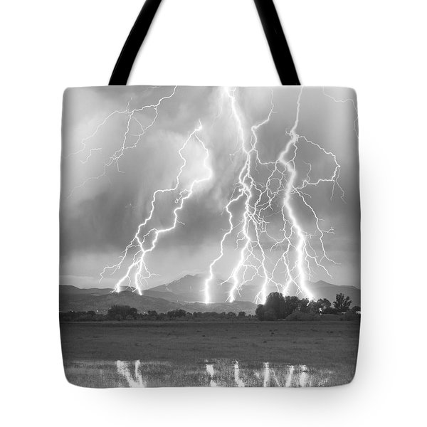 Lightning Striking Longs Peak Foothills 4cbw Tote Bag