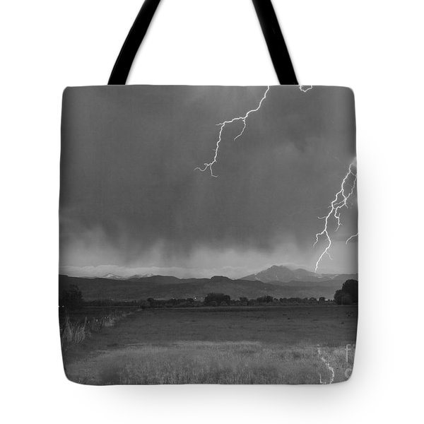 Lightning Striking Longs Peak Foothills 5bw Tote Bag