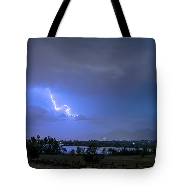 Tote Bag featuring the photograph Lightning Striking Over Boulder Reservoir by James BO Insogna