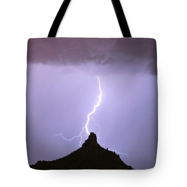 Lightning Striking Pinnacle Peak Scottsdale Az Tote Bag
