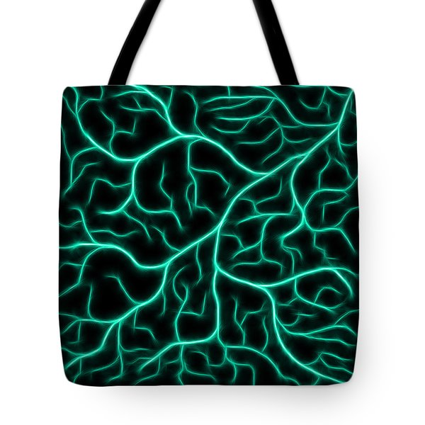 Tote Bag featuring the digital art Lightning - Teal by Shane Bechler