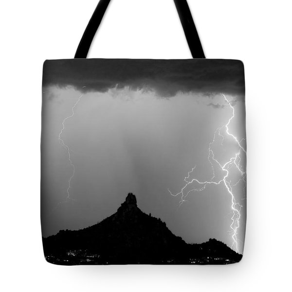 Lightning Thunderstorm At Pinnacle Peak Bw Tote Bag
