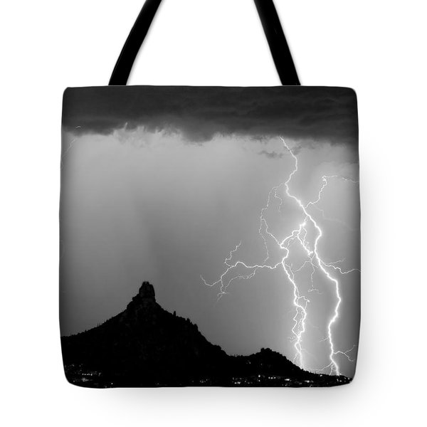 Lightning Thunderstorm At Pinnacle Peak Bw Tote Bag