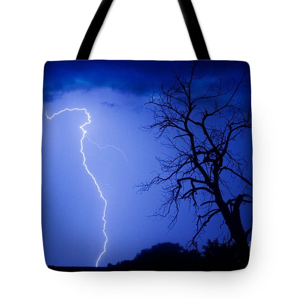 Lightning Tree Silhouette Tote Bag by James BO  Insogna