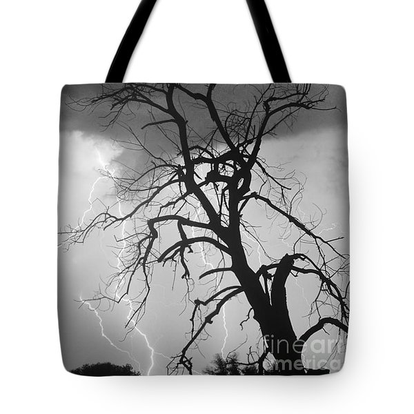 Lightning Tree Silhouette Portrait Bw Tote Bag