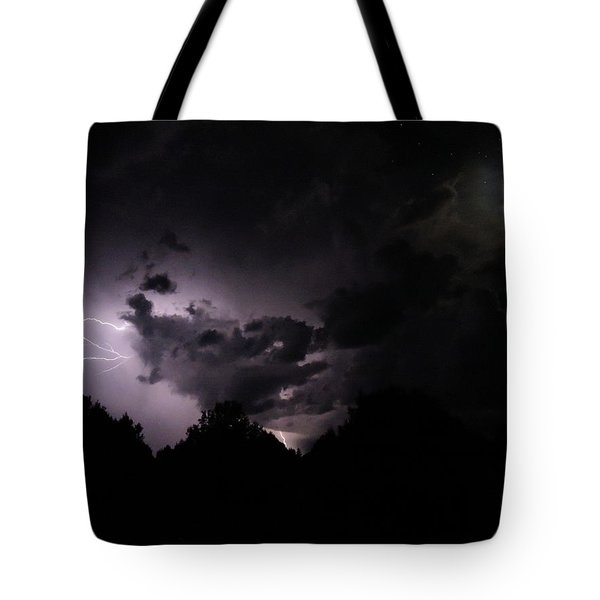 Lightning With Stars And Moon  Tote Bag by Todd Krasovetz