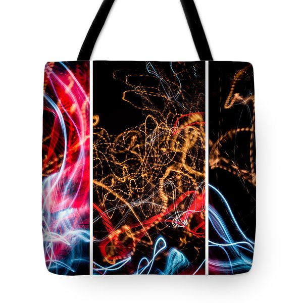 Lightpainting Triptych Wall Art Print Photograph 5 Tote Bag