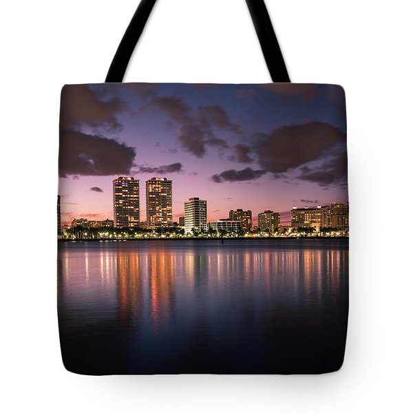 Lights At Night In West Palm Beach Tote Bag